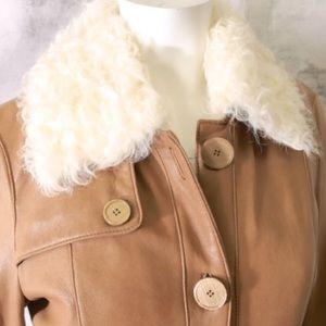Browns Tan leather/sheepskin coat, large petite